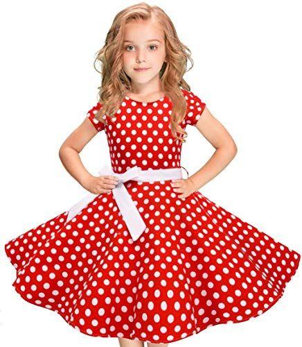Buy Vintage Polka Dot Swing Girls Dress 1950s Retro Style Cotton Red Black online