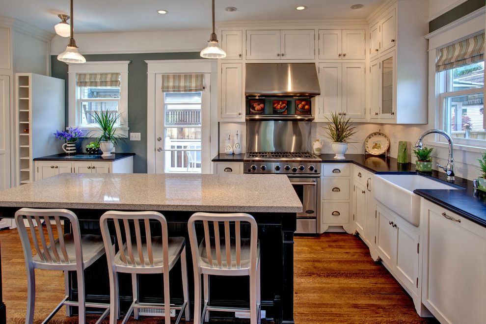 mayfair furniture Kitchen Craftsman with blue paint black countertop ...