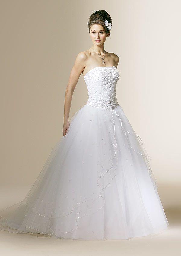 A Line Strapless Satin Tulle Chapel Train Wedding Dress WA0398 23395