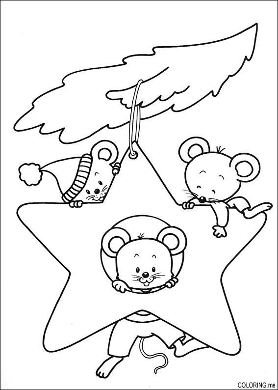 Christmas Ornament Coloring Pages | star ornament mice coloring ...