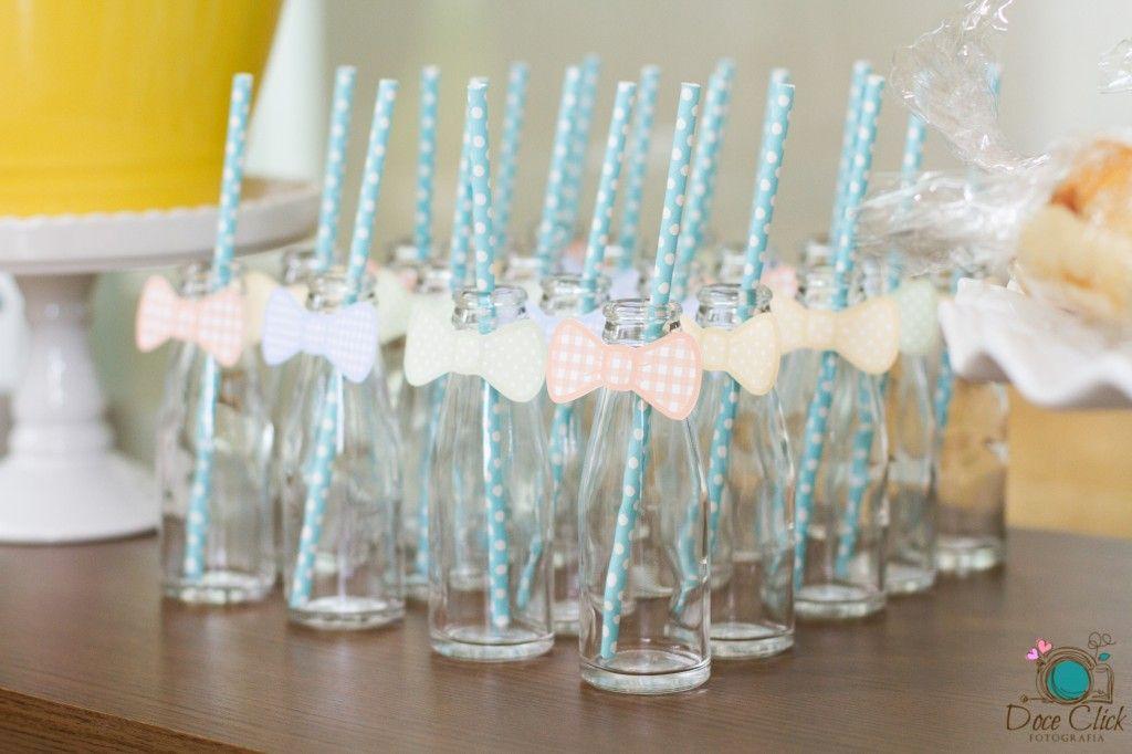 Garrafinhas decoradas para o chá de bebê Circo Baby.