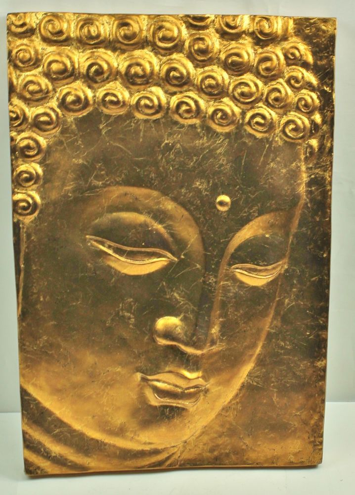 Buddha Wall Sculpture: Gold Gilded Carved Low Bas Relief Buddha Head Wall