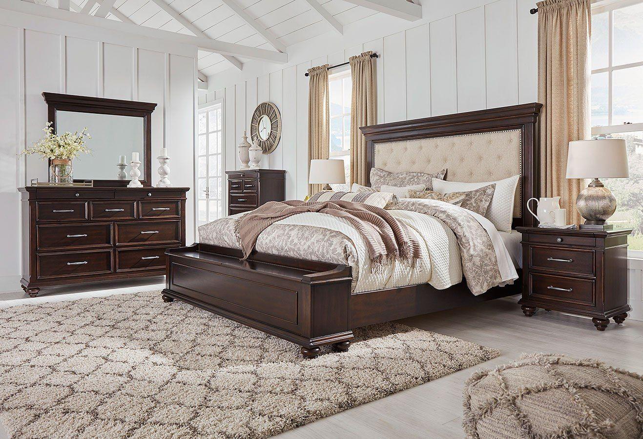 Brynhurst Upholstered Storage Bedroom Set Brown Furniture Bedroom Dark Brown Bedrooms King Bedroom Sets