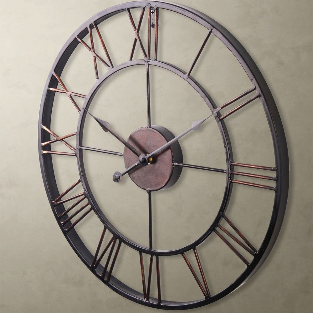 Hot Sale Extra Large Vintage Style Statement Metal Wall Clock