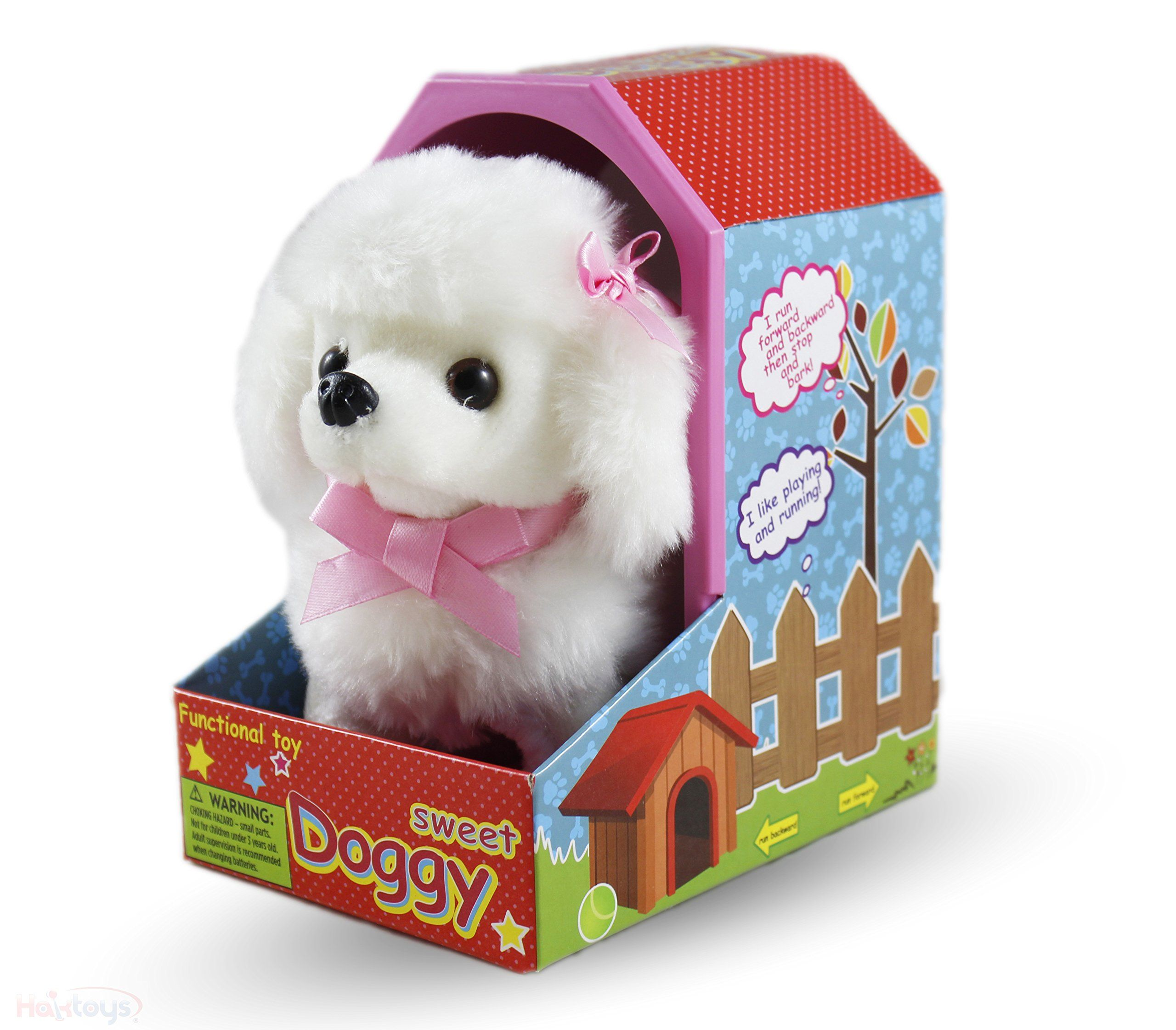 Haktoys Sweet Poodle Plush Doggy Battery Operated Walking Tailwagging And Mechanical Barking Electronic Plush Cute 7a A A Animals For Kids Dog Gifts Dog Toys