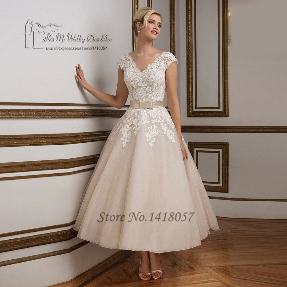 Champagne and ivory wedding dress   Champagne Short Wedding Dress  Informal Wedding Dresses for