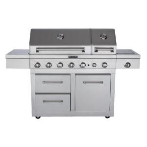 Kitchenaid 6 Burner Dual Chamber Gas Grill With Grill Cover 720 0826 The Home Depot Grilling Grill Cover Outdoor Kitchen Sink