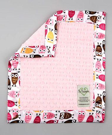 Loving this Pink Night Owl Velour Dot Satin Security Blanket on #zulily! #zulilyfinds
