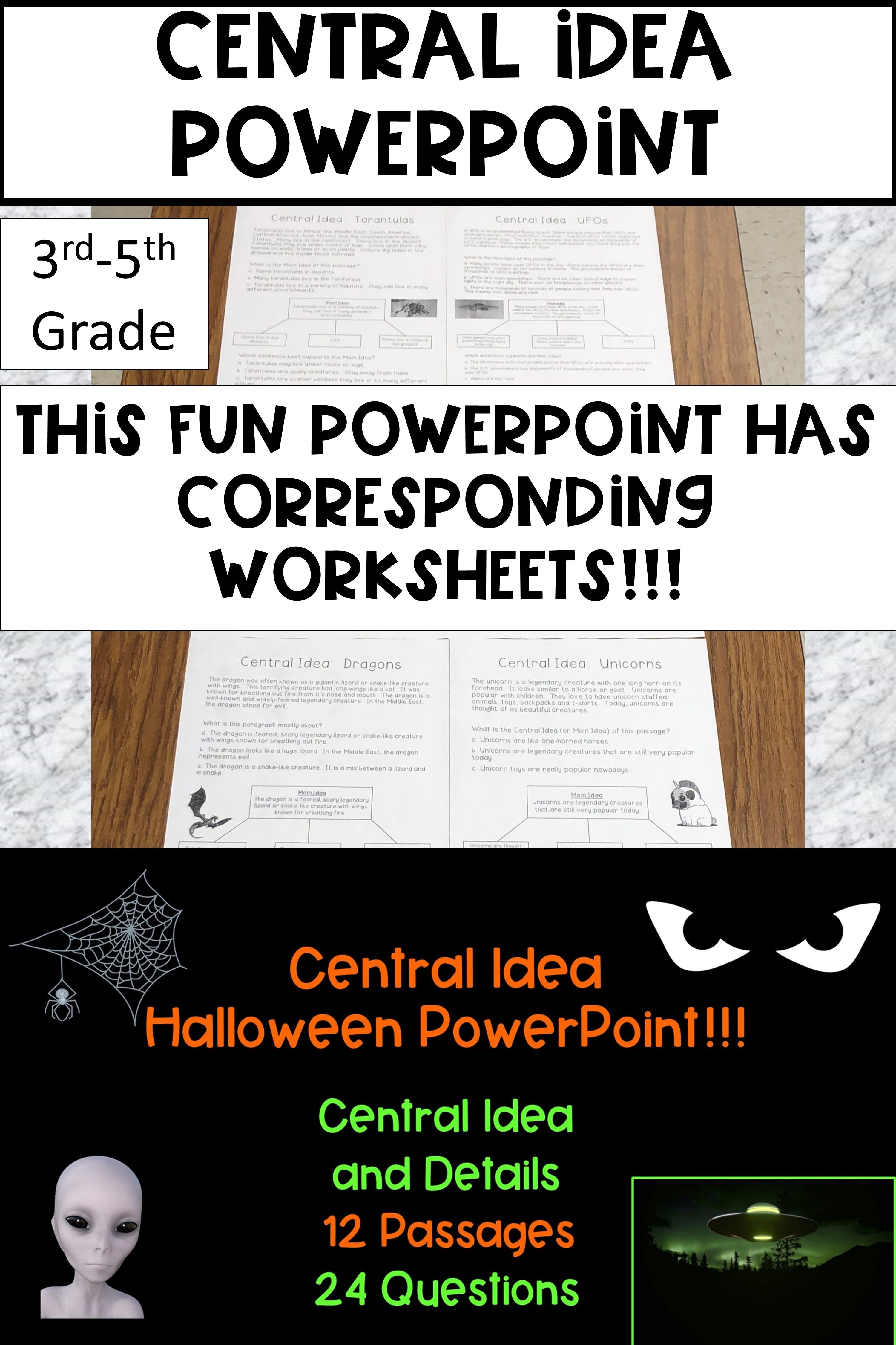 Central Idea Halloween Powerpoint Central Idea 3rd Grade Reading Elementary Ela