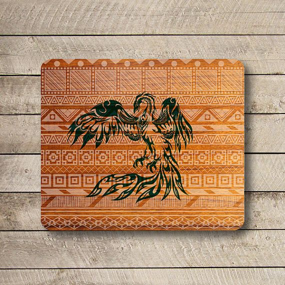 Phoenix Aztec Tribal Wooden Grave Mouse Pad Art Drawing Bird Work