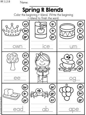 Spring Literacy Worksheets 1st Grade Blends Worksheets First