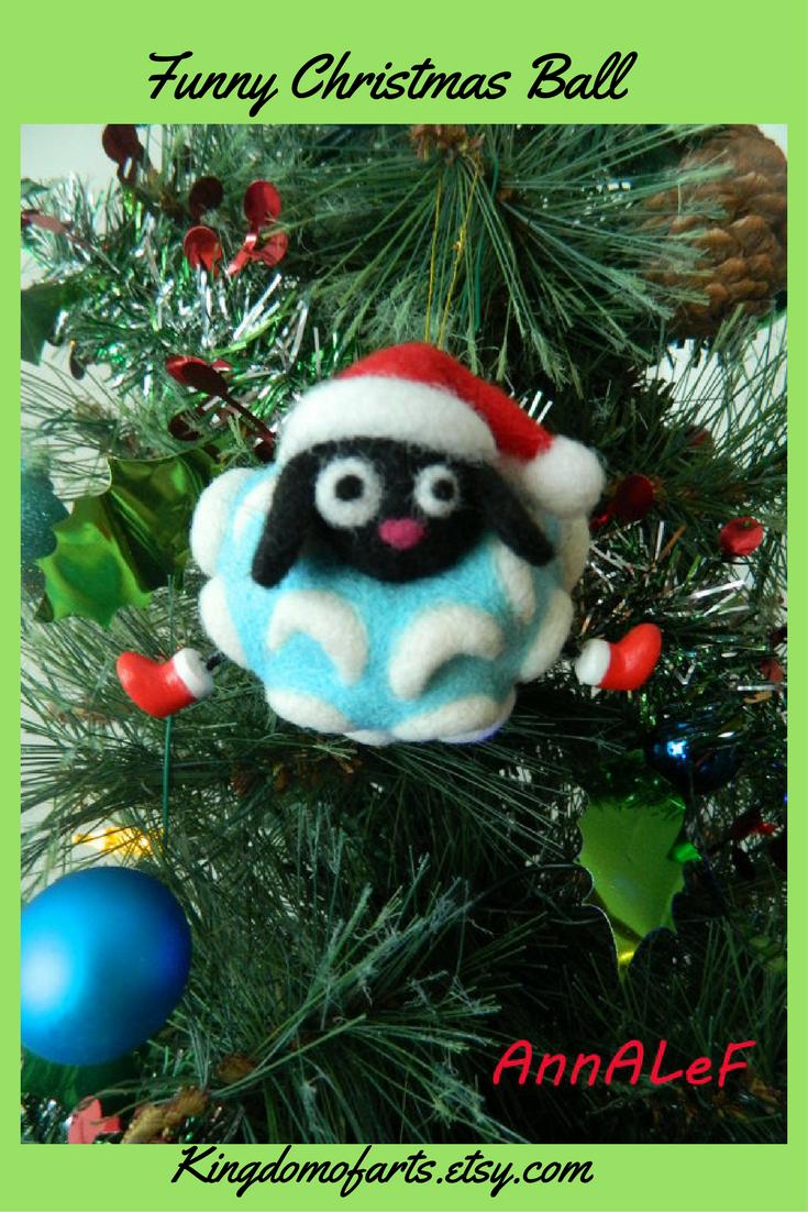 Christmas Tree Balls Christmas Felted Toy Funny Christmas Etsy Real Christmas Tree Christmas Tree Decorations Christmas Humor