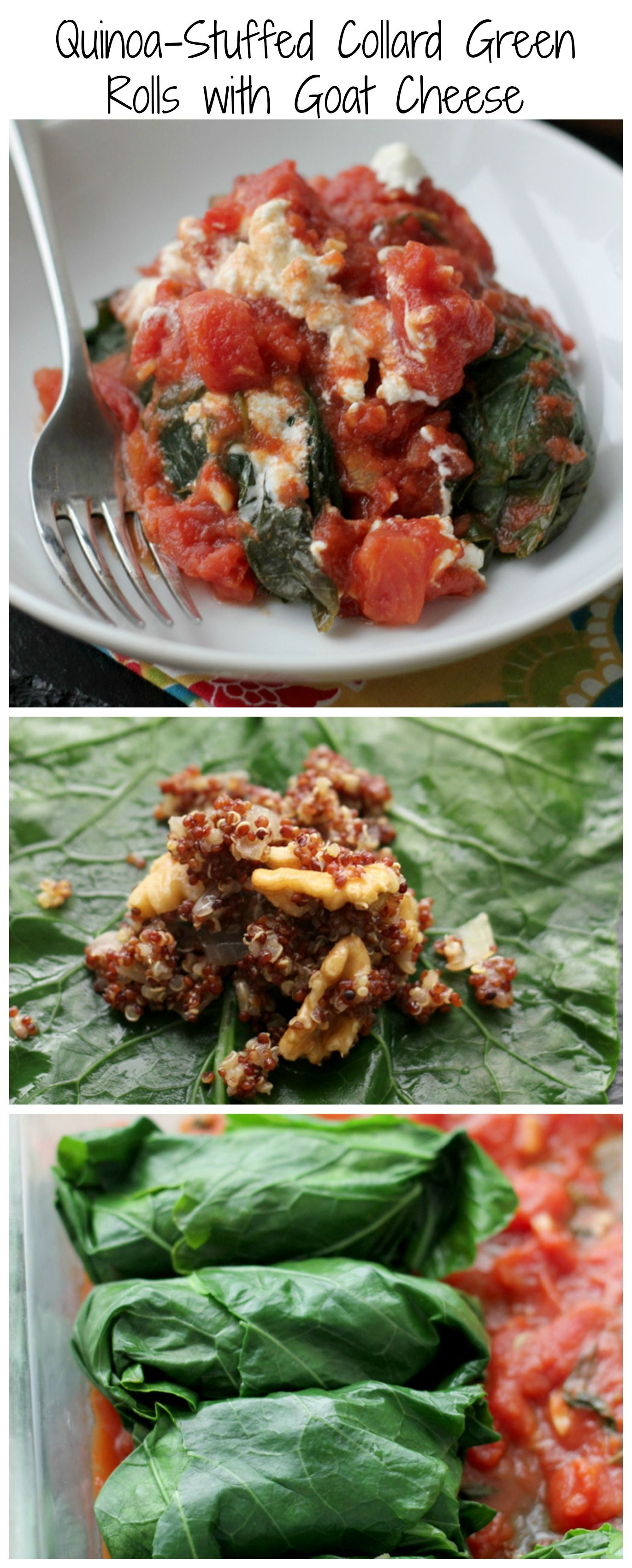 Quinoa Stuffed Collard Green Rolls With Goat Cheese