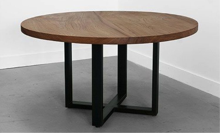 Mesa redonda madera herrer a mesas redondas pinterest - Patas para mesas redondas ...