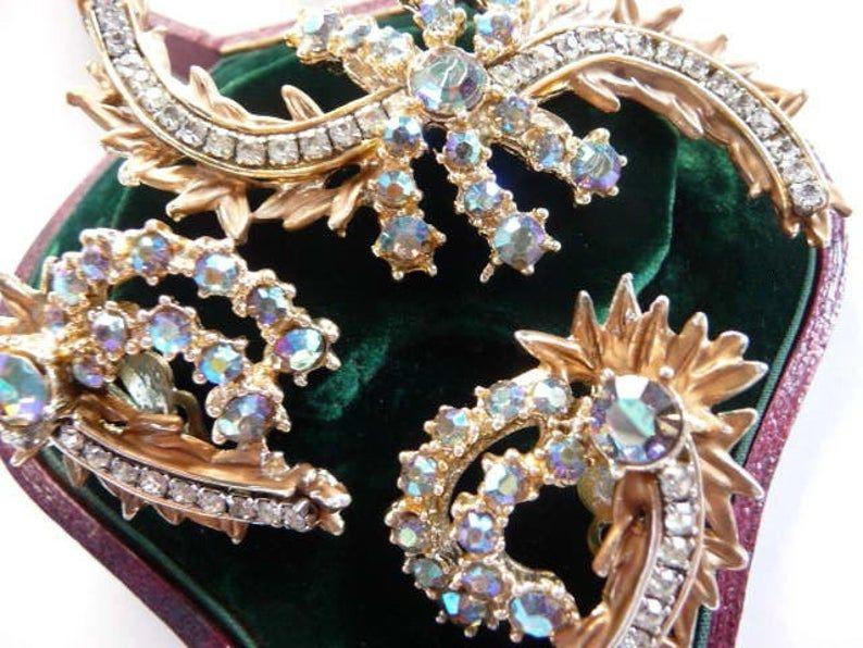 Vintage Costume Jewelry Classic 1950s Silver Set Clear Rhinestone Pin Clip On Earrings Rhinestone Jewelry Brooch Earrings Set