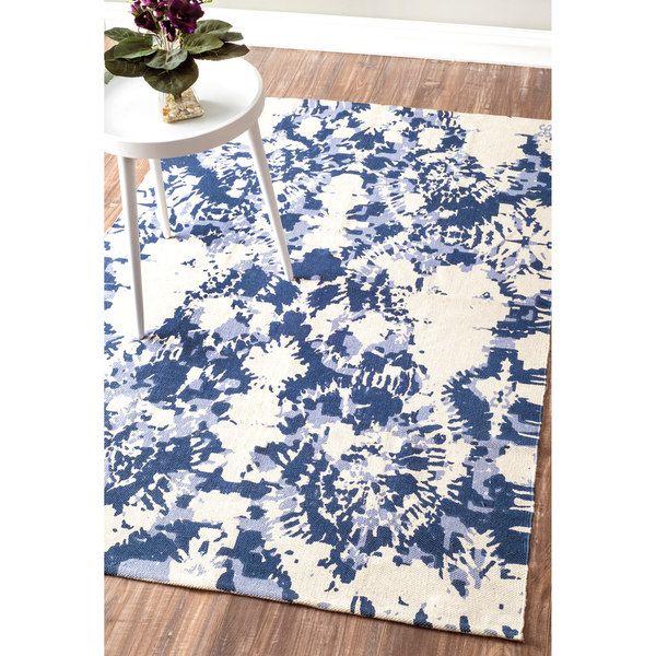 Nuloom Flatweave Modern Tie Dye Printed Splatter Vintage Cotton Blue Rug 5 X 8 5 X 8 Nuloom Blue Cotton Rug Blue Rug