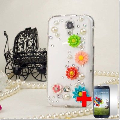 SAMSUNG GALAXY S4 i9500 3D COLORFUL FLOWER WHITE DIAMOND HARD CASE COVER + SP on eBay!