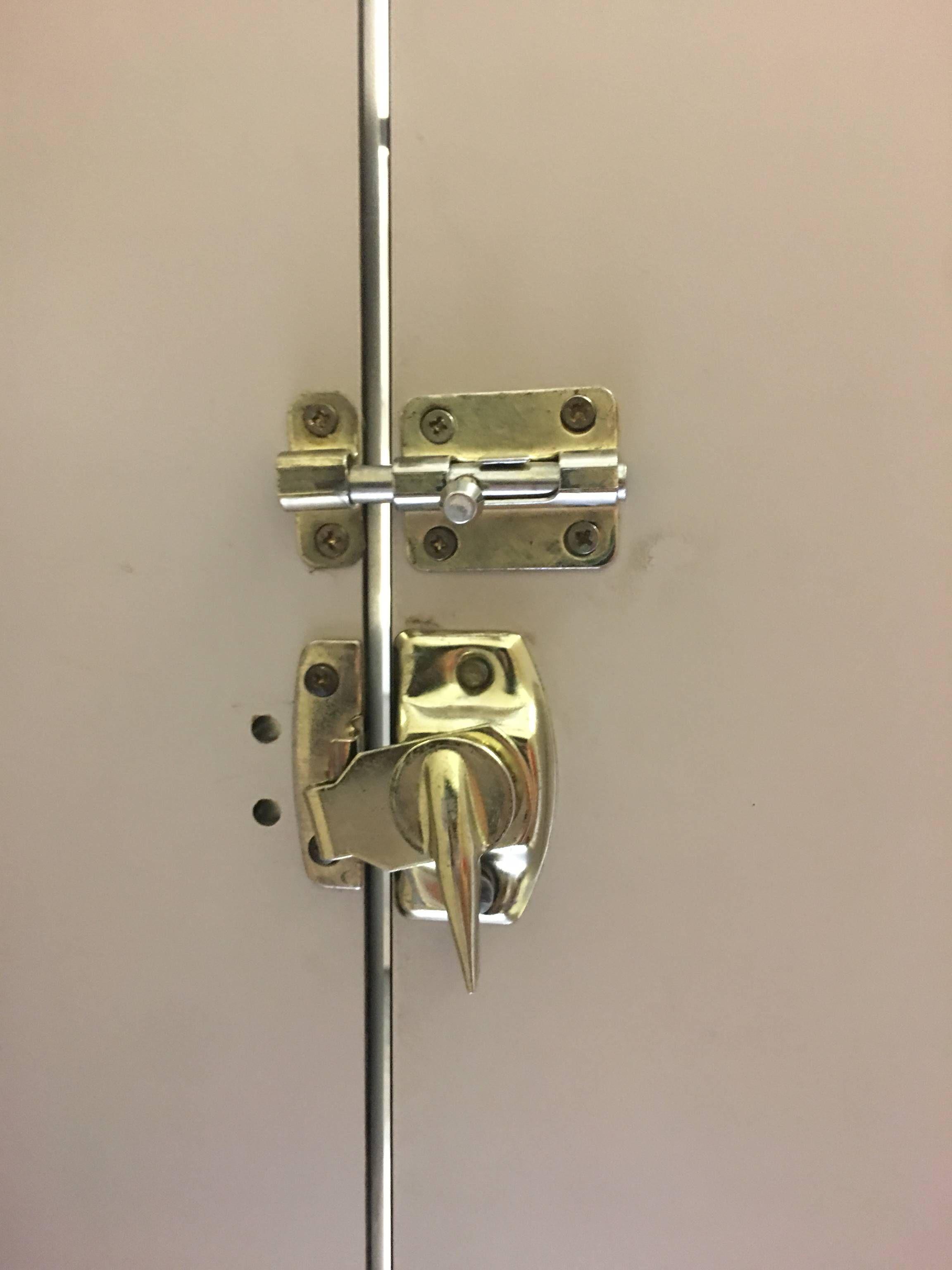 This Bathroom Stall Has 2 Locks Bathroom Stall Doors Bathroom Stall Bathroom Door Handles
