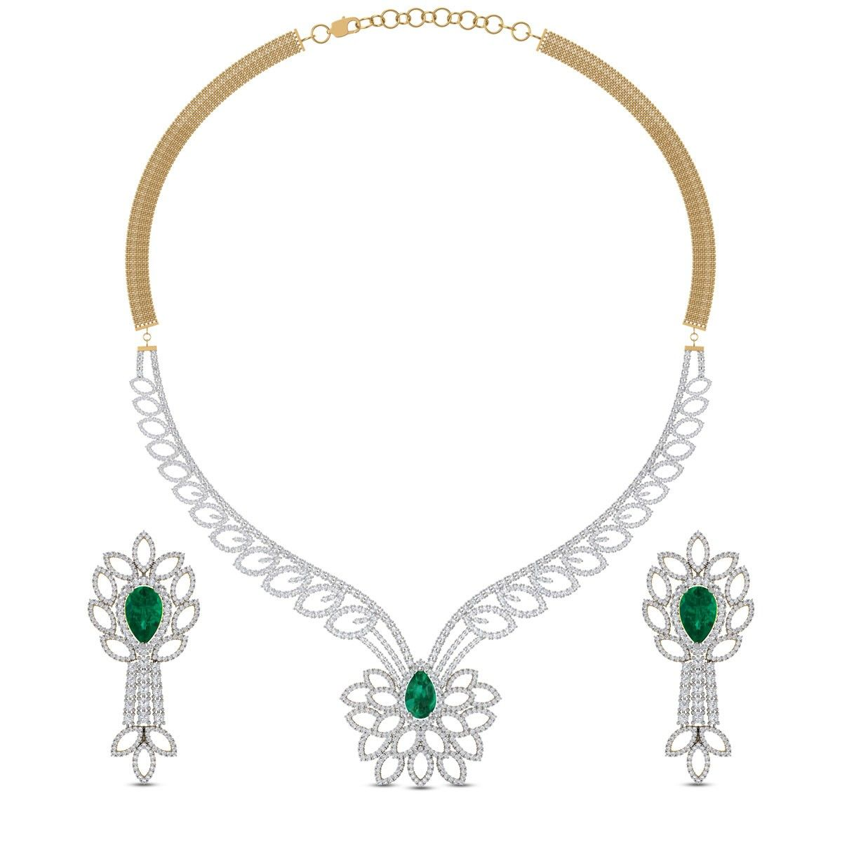 Kalya leafy diamond and emerald necklace set kalaus antiques