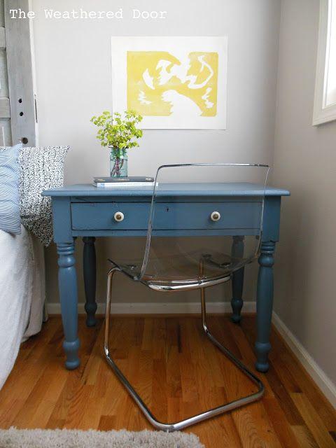 The Weathered Door: Smokey Blue Writing Desk