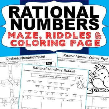 RATIONAL NUMBERS Maze Riddle Color By Number Fun MATH