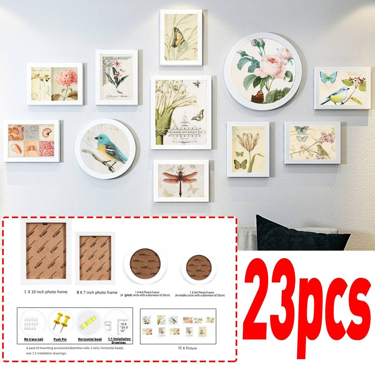 Multi Picture Photo Frame Set Wall Frames Set Collage Family Picture Display Wall Hanging Art Picture Display Wall Displaying Family Pictures Wall Frame Set