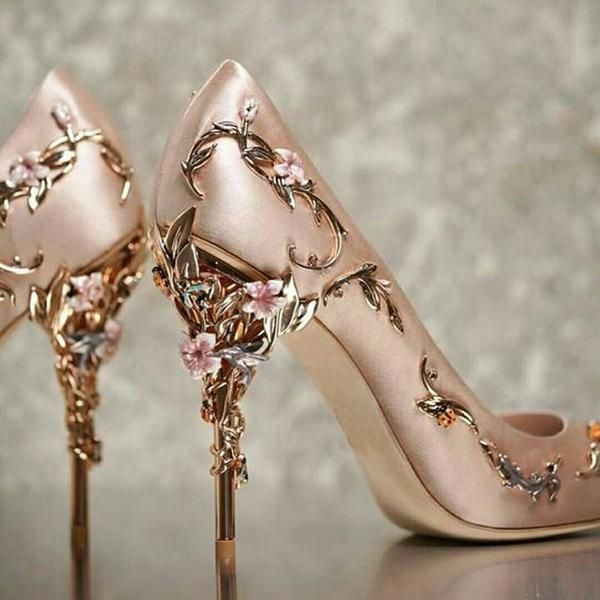 Baimier 2018 Luxury Brand Women Pumps Flower Heel Wedding Shoes Women Elegant Silk High Heels Women Shoes Plus Size 40 41 42