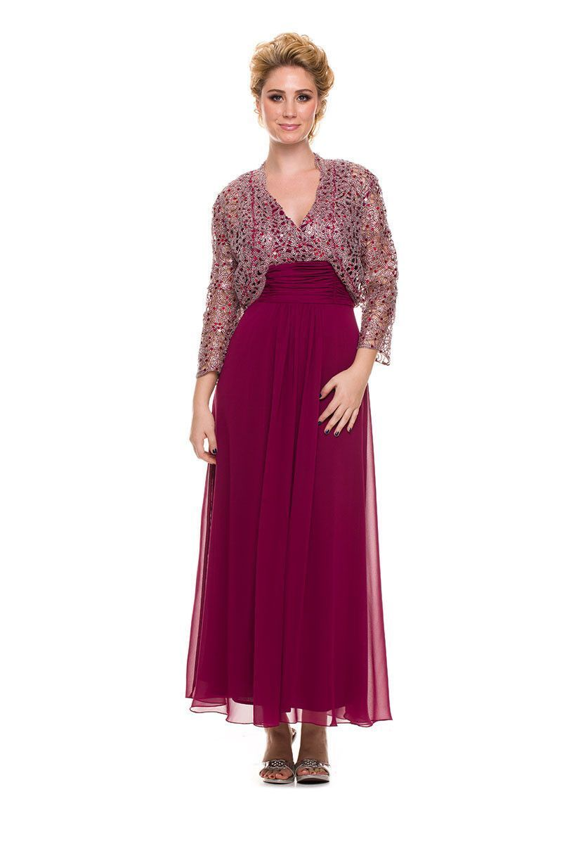Long Formal Mother of the Bride Plus Size Dress with Jacket