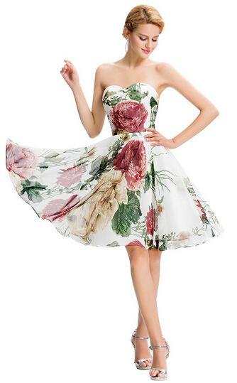 Long Evening Dress Floral Print Sleeveless Pattern Night Formal