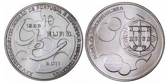 10€ - 25.º Aniversário da Adesão de Portugal e Espanha à União Europeia