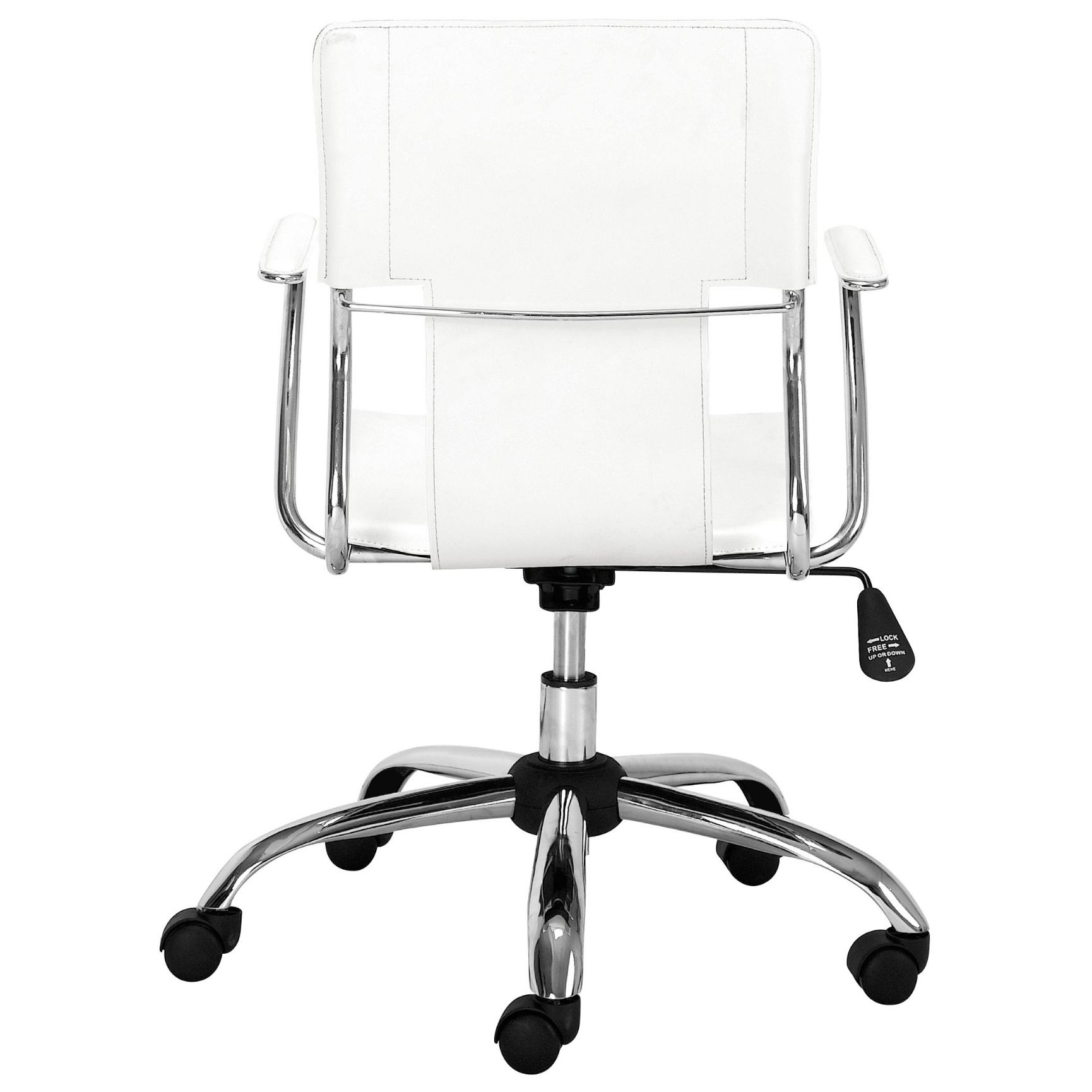 Anton Modern Classic White Leather Silver Chromed Steel Swivel Office Chair White Office Chair Office Chair Adjustable Office Chair