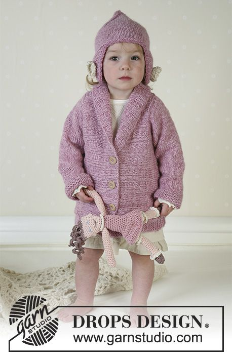 Flora / DROPS Baby 13-16 - Jacket, hat, soft toy and blanket in Alpaca