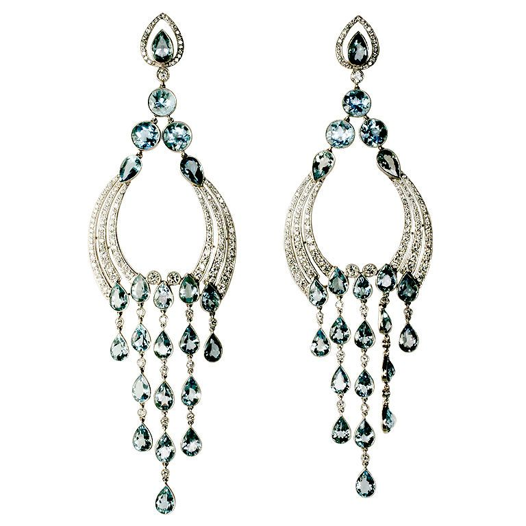 Long Diamond Aquamarine Chandelier Earrings From A Unique Collection Of Vintage At
