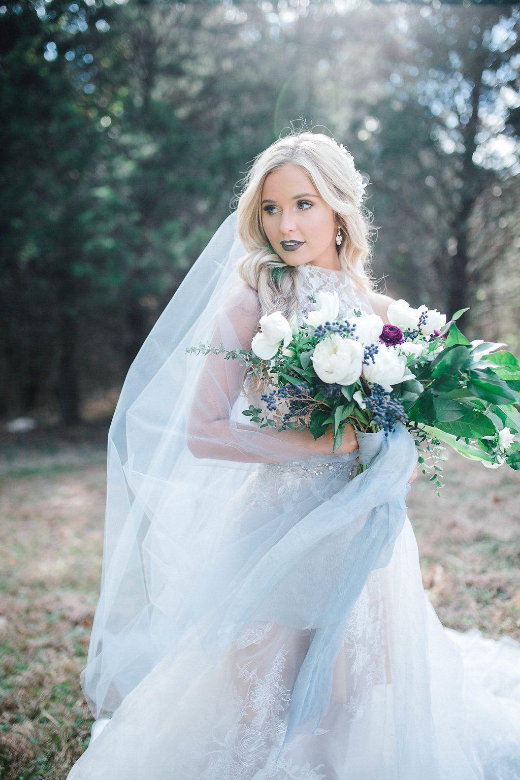 Dusty Blue Bride / Blue Veil / Wedding