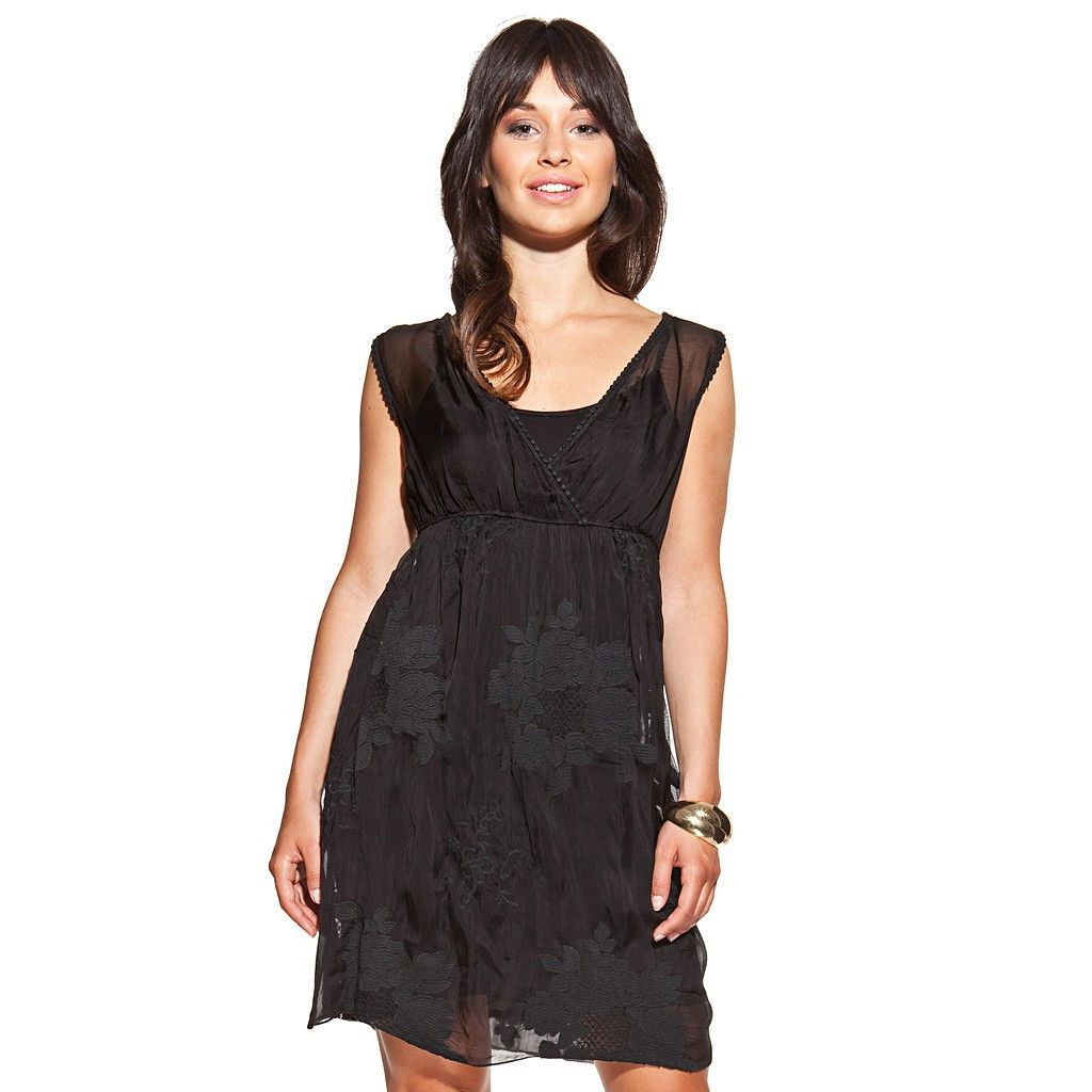 Silk dress colour black with uneck embroidered and lace trim