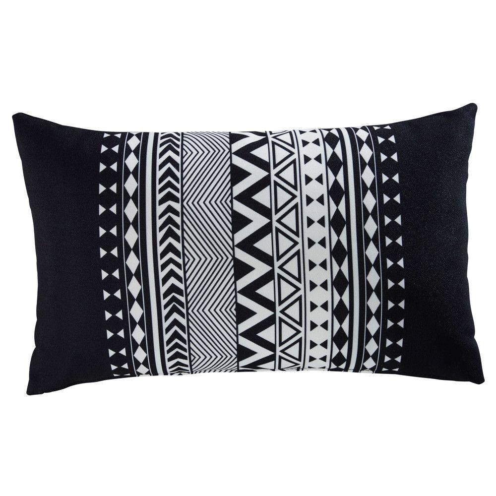 Coussin de jardin graphique en tissu noir et blanc 30x50cm | Maisons ...