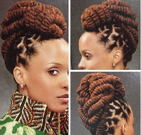 African American French Braid Updo Hairstyles 006
