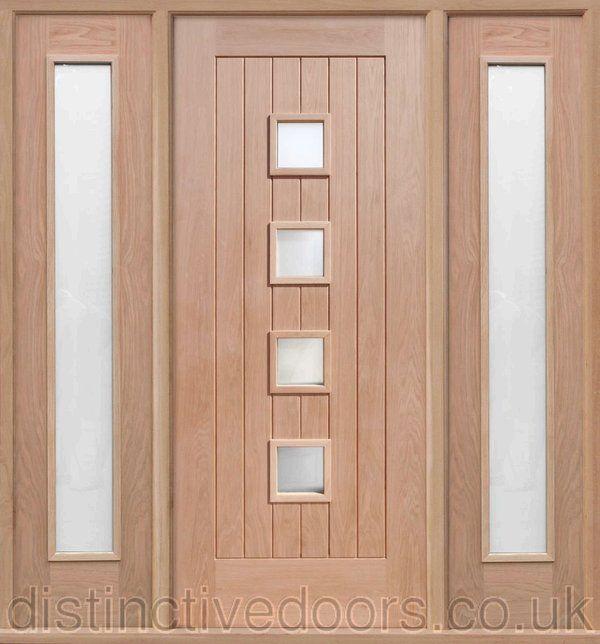 Siena Satin Double Glazed Oak Elegant Entrance Door Set Elegant