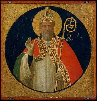 A Bishop Saint Fra Angelico (Guido di Pietro) (Italian, Vicchio di Mugello ca. 1395–1455 Rome) Date: ca. 1425 Medium: Tempera on wood, gold ground