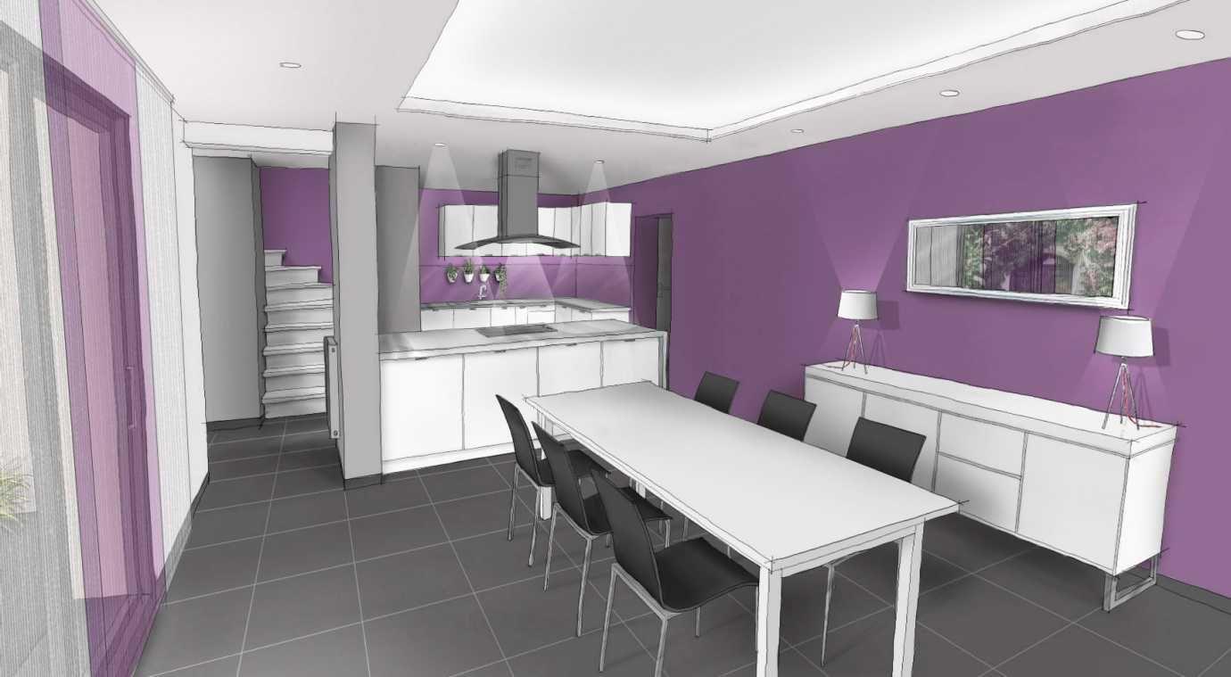 couleur du mur framboise avec cuisine en bois | renovation mam
