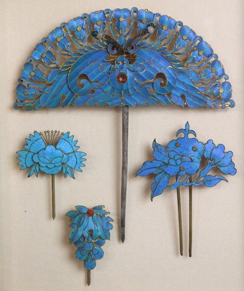 8087 Chinese Ming Dynasty Kingfisher Hair Ornaments Lot 8087 Hair Ornaments Kingfisher Jewelry Ancient Jewelry