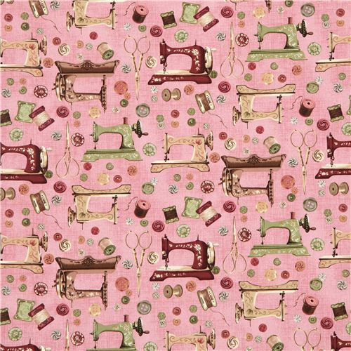 Old Rose Vintage Sewing Machine Fabric By Robert Kaufman New Vintage Sewing Machine Fabric
