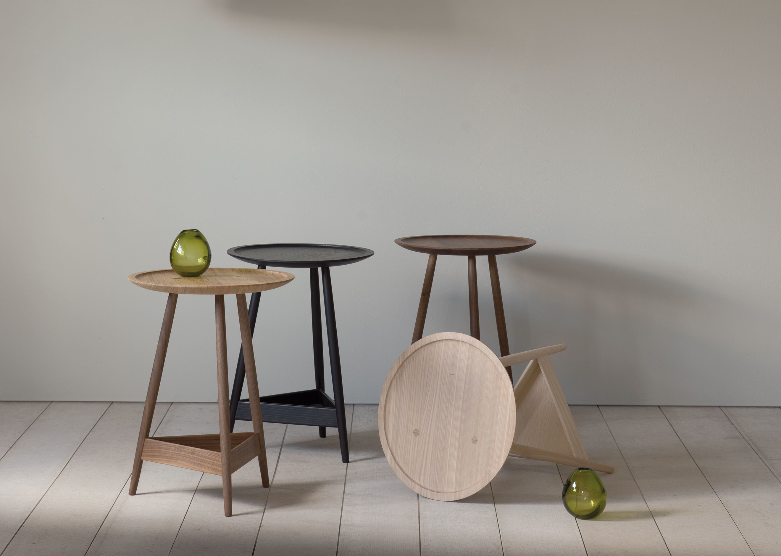 Contemporary Modern Round Side Table A Three Legged End Table