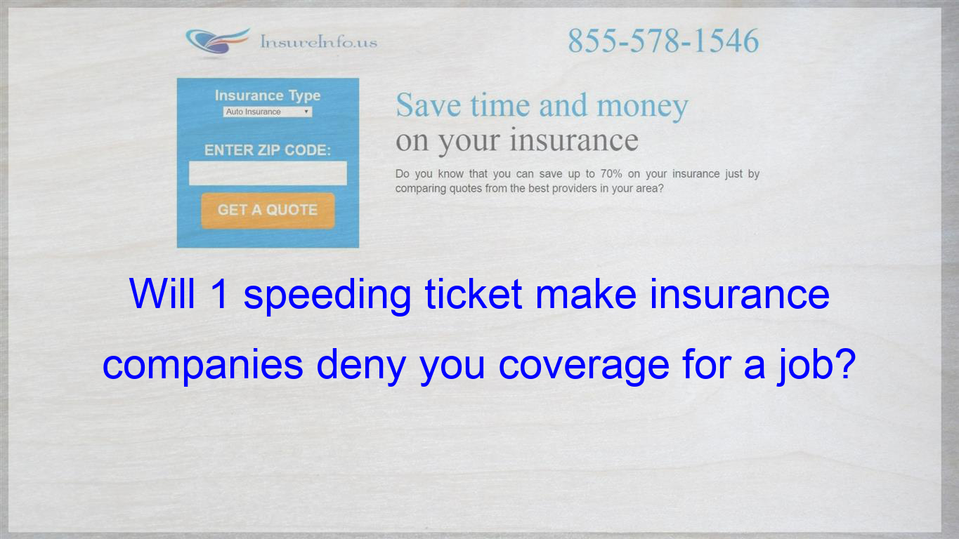Will 1 Speeding Ticket Make Insurance Companies Deny You Coverage