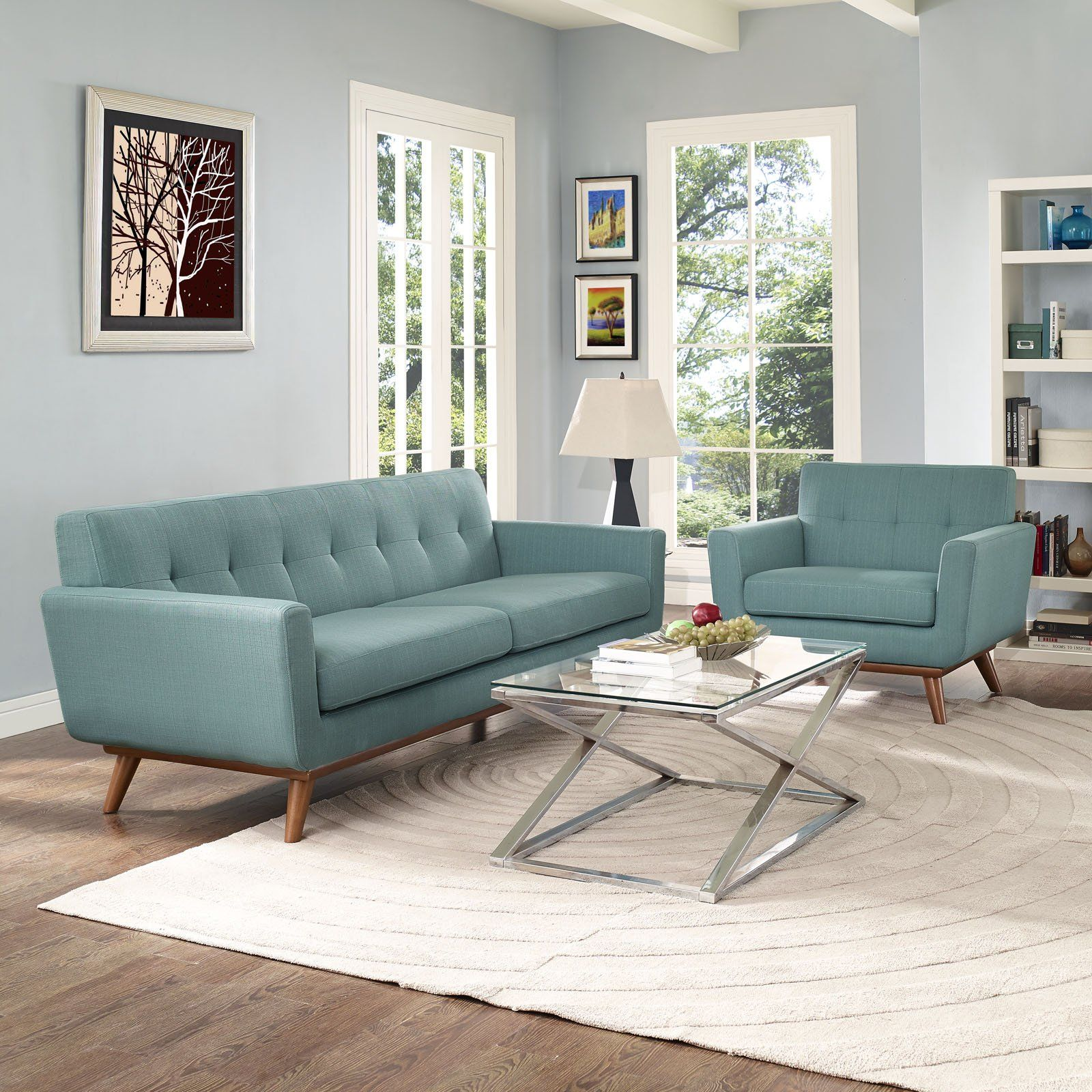 Modway Furniture Modern Engage Armchair And Sofa Set Of 2