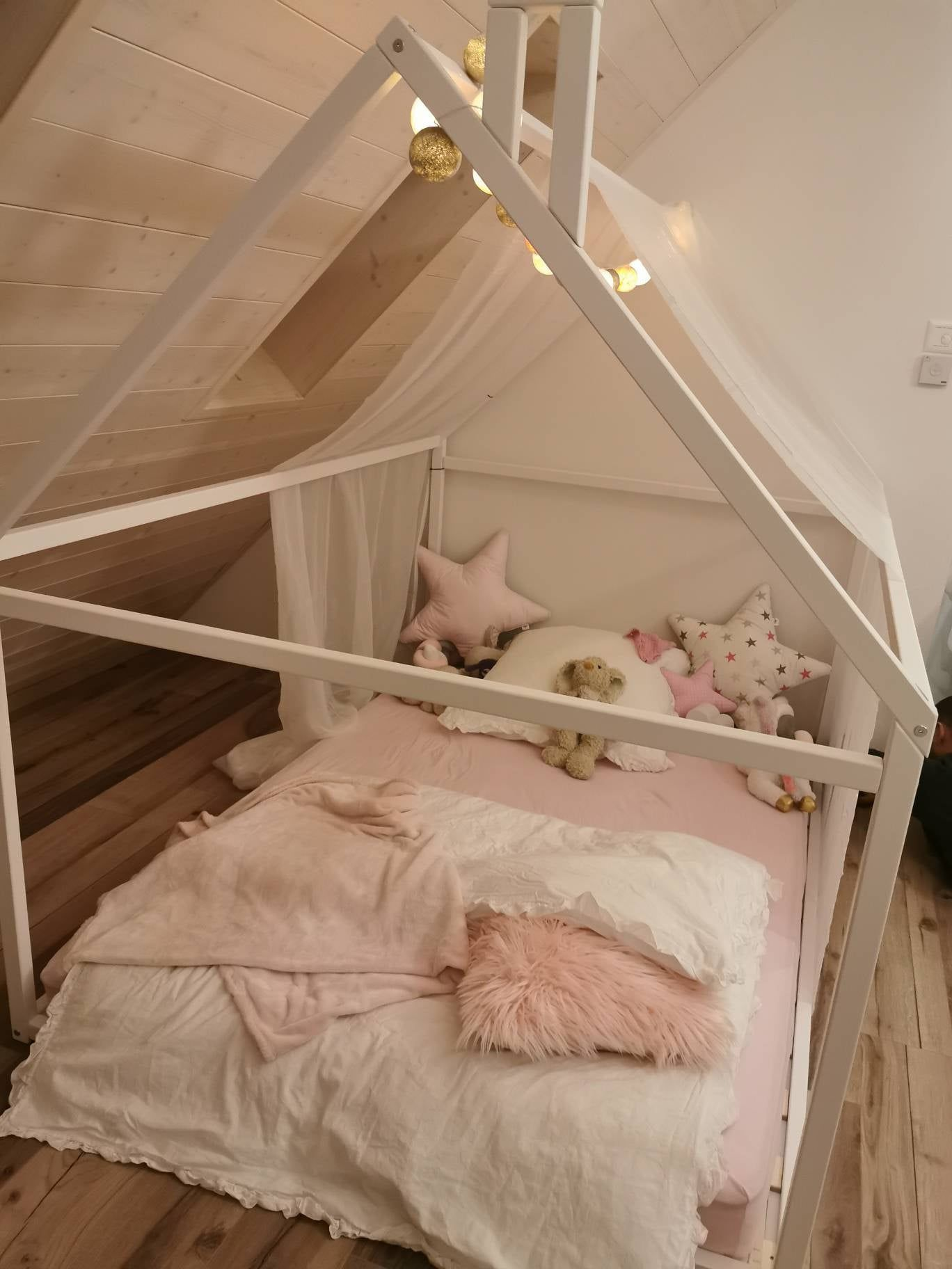 Wood Bed Full Double Toddler Bed Frame Tent Bed Wooden House