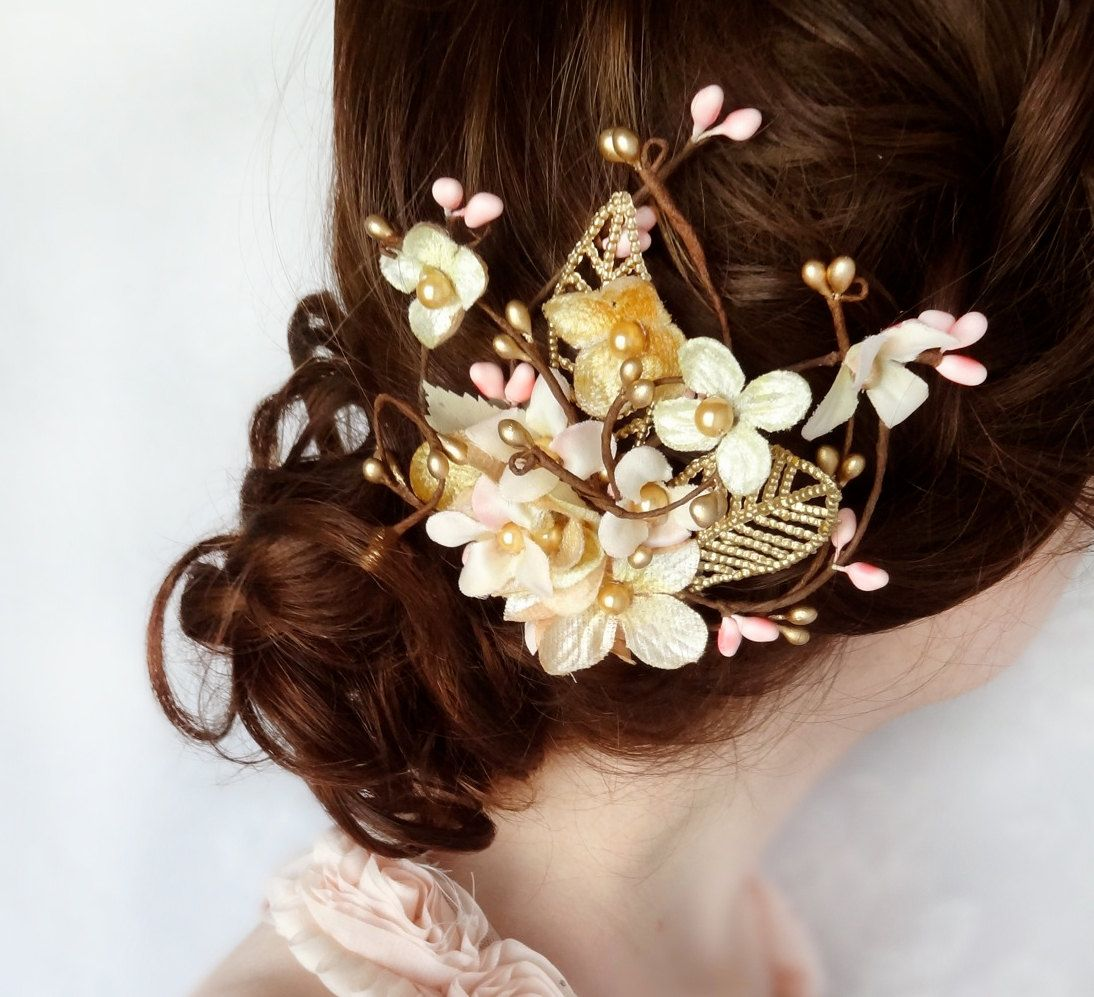gold hair flower, pink hair accessory, bridal hair accessories