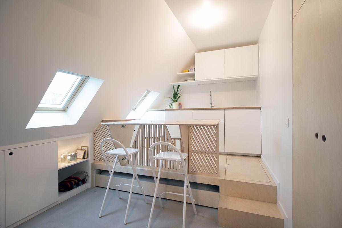 Batiik studio petit espace mini espace chambre de bonne lit tiroir contreplaqu - Amenager une chambre de bonne ...