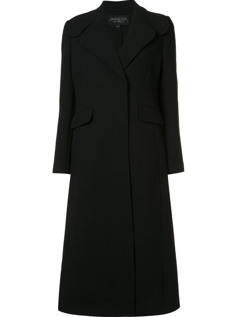 Giambattista Valli single breasted coat, Women's, Size: 44, Black, Silk/Nylon/Polyamide/Virgin Wool