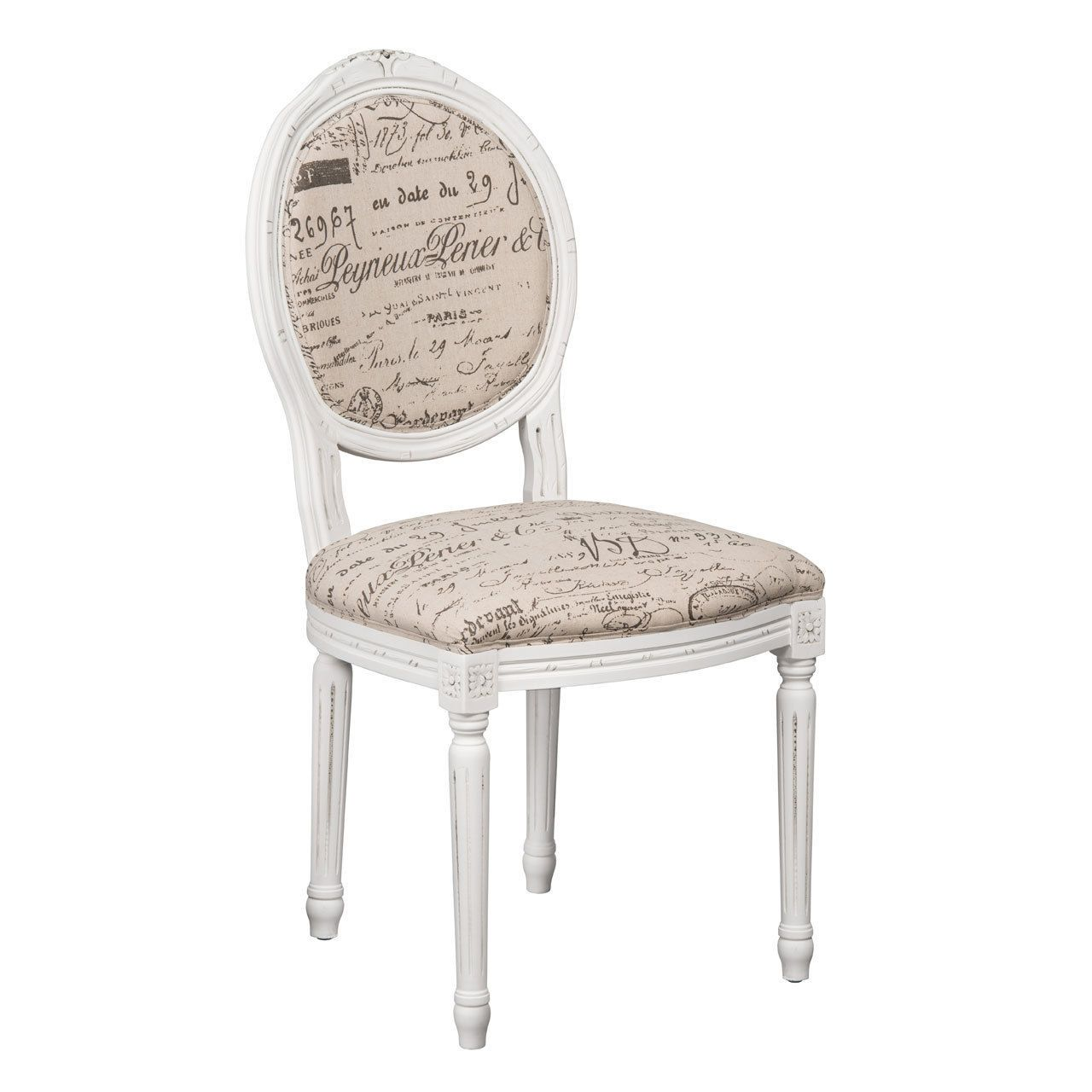 louis style chair french vintage script fabric white frame